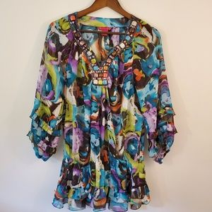 Sunny Leigh colorful bead embellished blouse Large